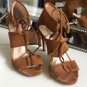 Brown Suede Lace Up Heels